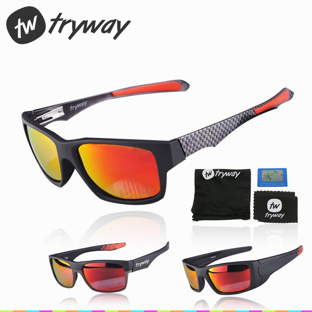 Brand Tryway Rossi sunglasses square carbon Bike cycling glasses Ruby Iridium lens Polarized oculos de sol sports eyewear 56mm With box