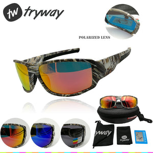 Tryway Polarized sunglasses men sport outdoor como frame moto cycling HD glasses TR90 Fishing Goggles