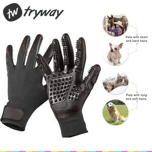 Pet Cleaning Brush Horses Grooming Gloves Comb for Dogs Cats Hair Silicone  Massage Deshedding Tools ...