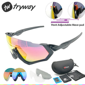2018 Polarized sunglasses 3lens men sport Road MTB glasses outdoor bicycle Flight Jacket goggles ciclismo Cycling JBR eyewear