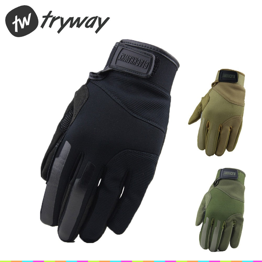 Black MEN Tactical GLOVES Full finger Gloves Ventilated For men 8155MDBK Gym Outdoor camping gloves