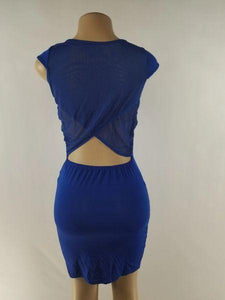 ROYAL BLUE MINI DRESS - Belle De'esse Boutique