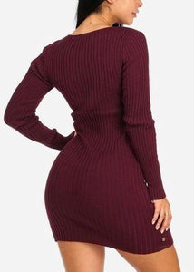 Burgundy Silver Button Knitted Mini Dress