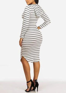 Stripe White Dress With Hoodie
