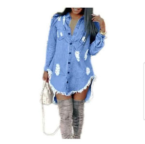 WOMEN DENIM SHIRT DRESS - Belle De'esse Boutique
