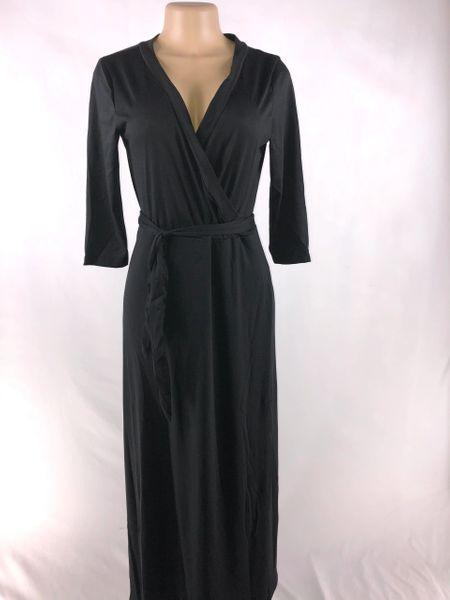 BLACK LONG-SLEEVED WRAP DRESS - Belle De'esse Boutique
