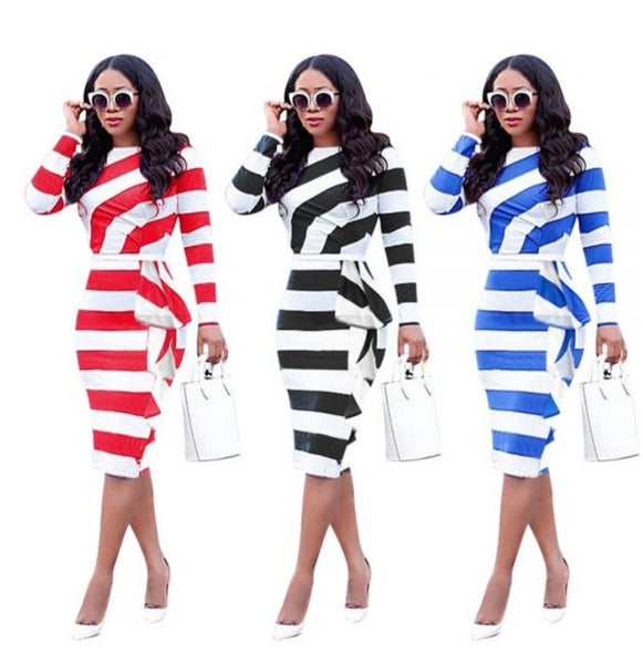 RED WOMEN STRIPE DRESS - Belle De'esse Boutique