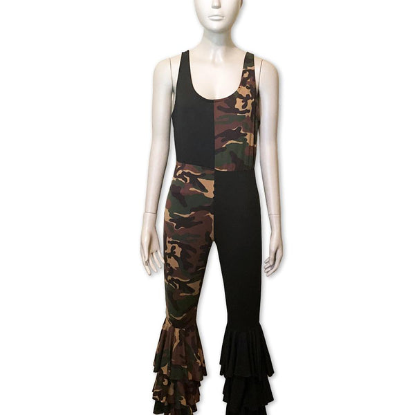 Camo & Black Jumpsuit - Belle De'esse Boutique