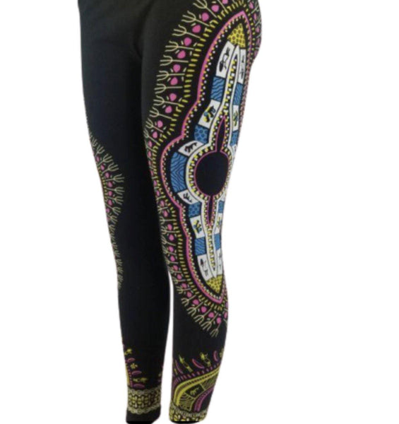 YELLOW & BLUE DASHIKI PRINT LEGGINS - Belle De'esse Boutique
