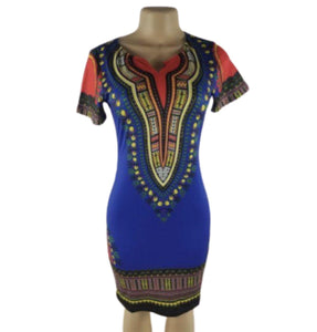 BLUE DASHIKI BODYCON DRESS