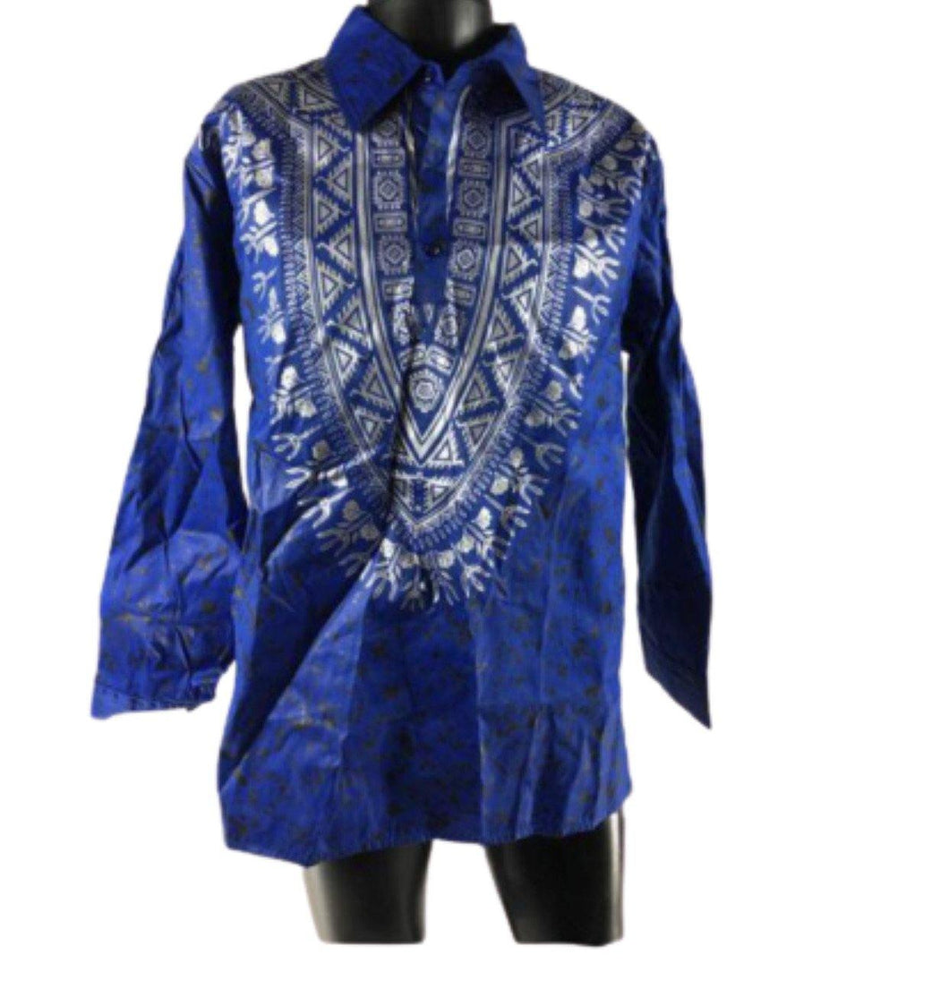 BLUE LONG-SLEEVE AFRICAN PRINT SHIRT