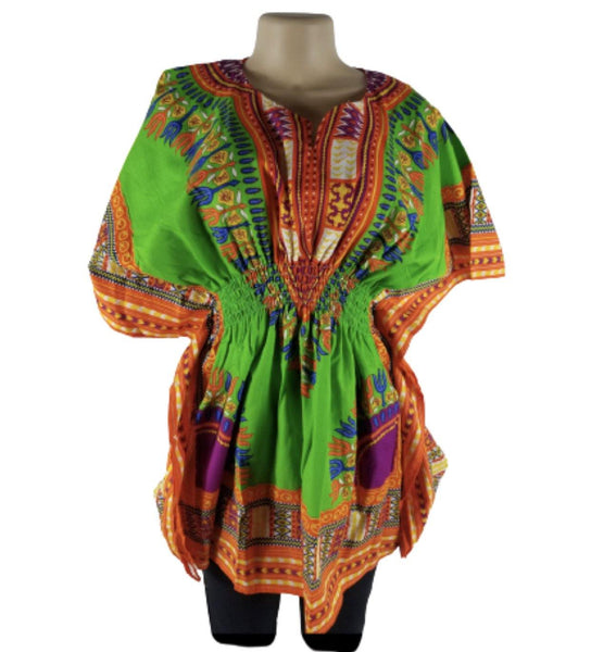 GREEN BUTTERFLY DASHIKI TOP - Belle De'esse Boutique