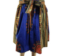 BLUE DASHIKI MIDI SKIRT - Belle De'esse Boutique