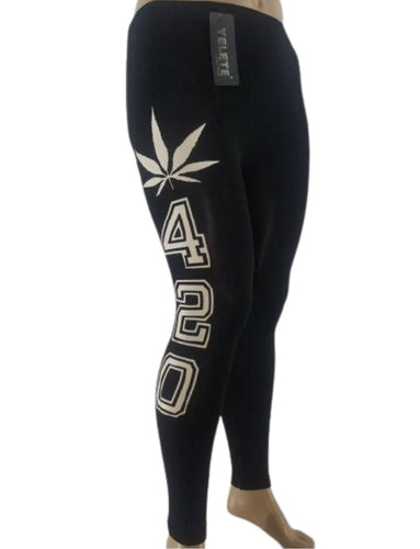 BLACK 420 LEGGINGS - Belle De'esse Boutique