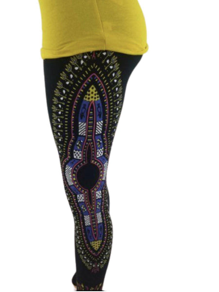 YELLOW & BLUE DASHIKI PRINT JEGGINS - Belle De'esse Boutique