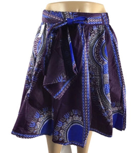 PURPLE AND BLUE MIDI SKIRT - Belle De'esse Boutique