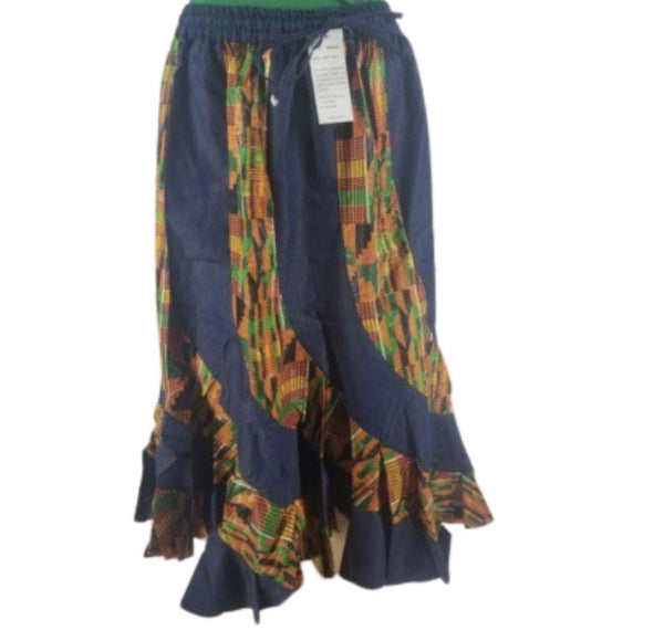 DENIM & KENTE RUFFLE BOTTON SKIRT