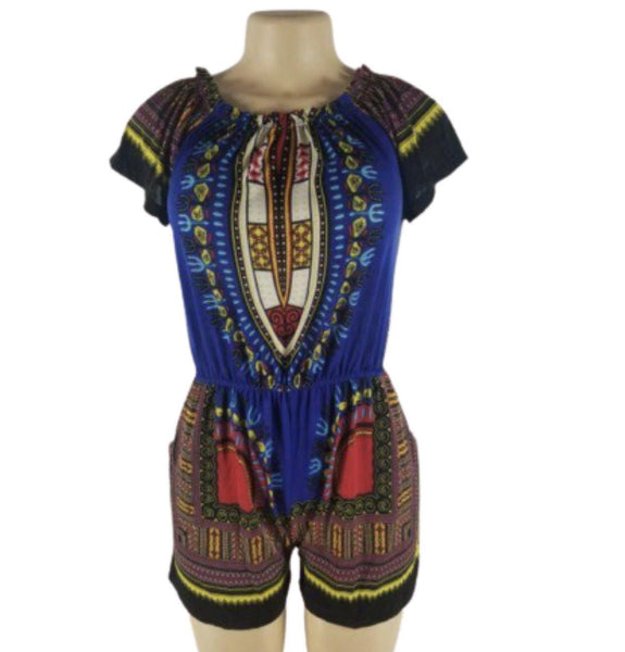 BLUE DASHIKI PRINT ROMPER - Belle De'esse Boutique