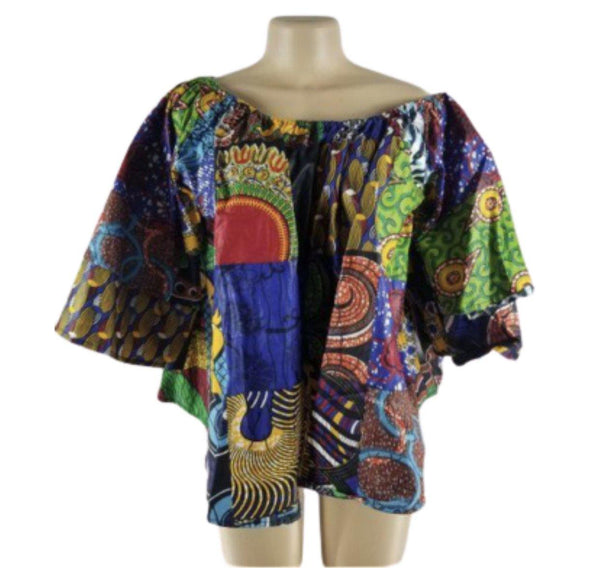 PATCHWORK AFRICAN WAX BELL-SLEEVE TOP - Belle De'esse Boutique