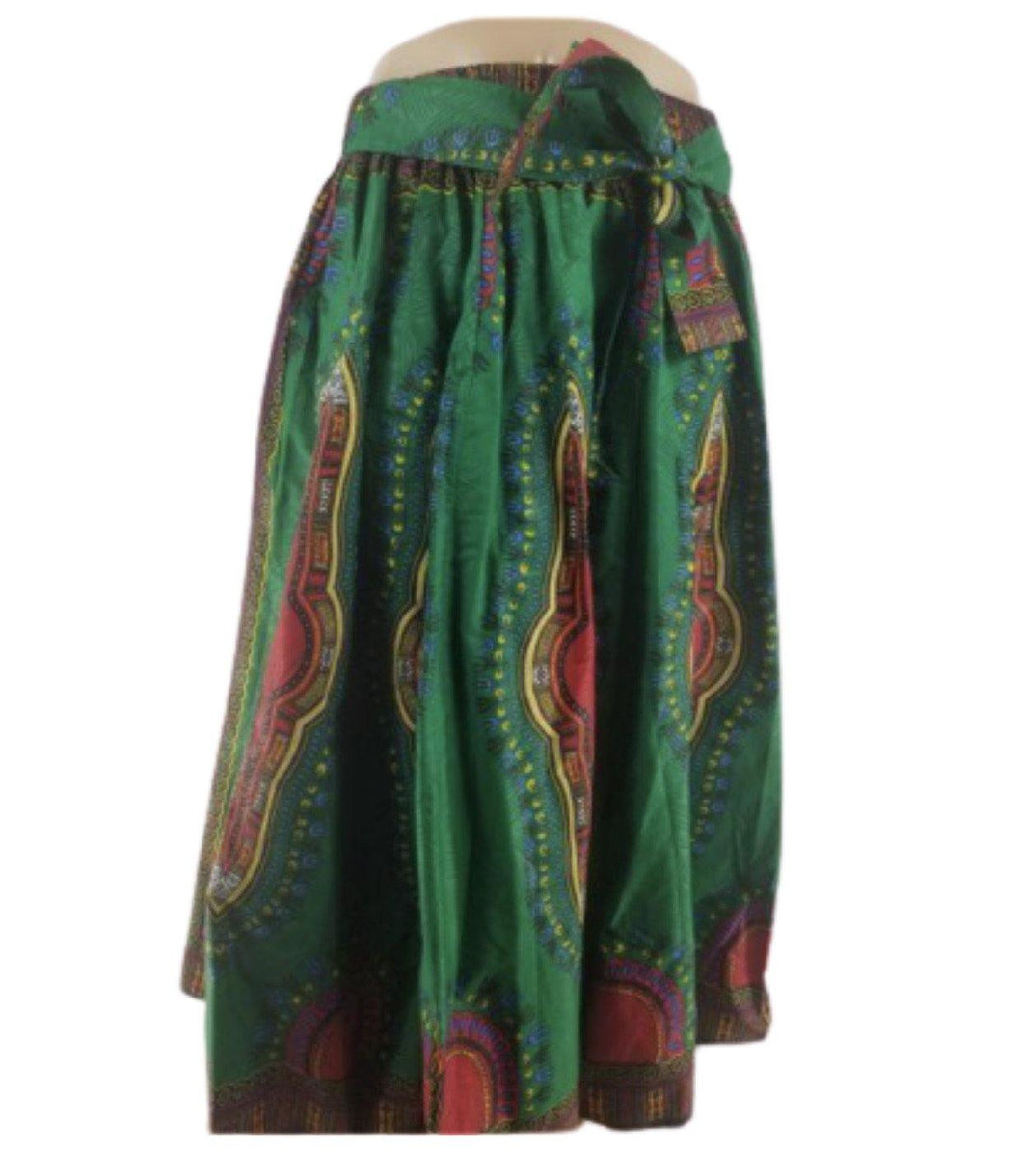 GREEN DASHIKI PRINT ANKARA MAXI SKIRT