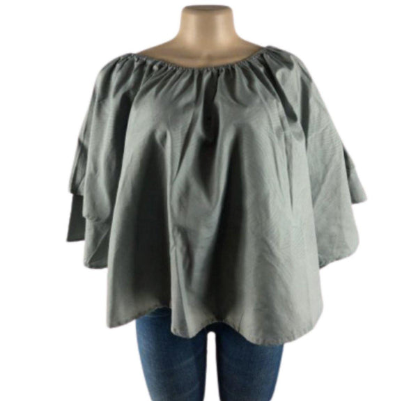 GREY BELL-SLEEVE TOP