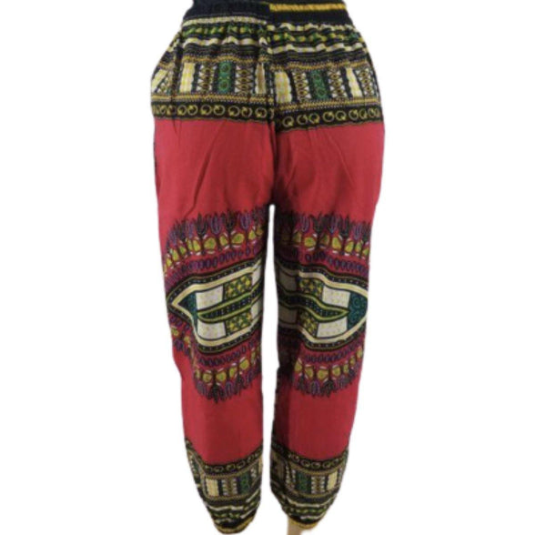 RED DASHIKI PRINT PANTS - Belle De'esse Boutique