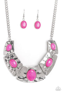 Pink Silver Stone - Hammered Plate - Set - Belle De'esse Boutique