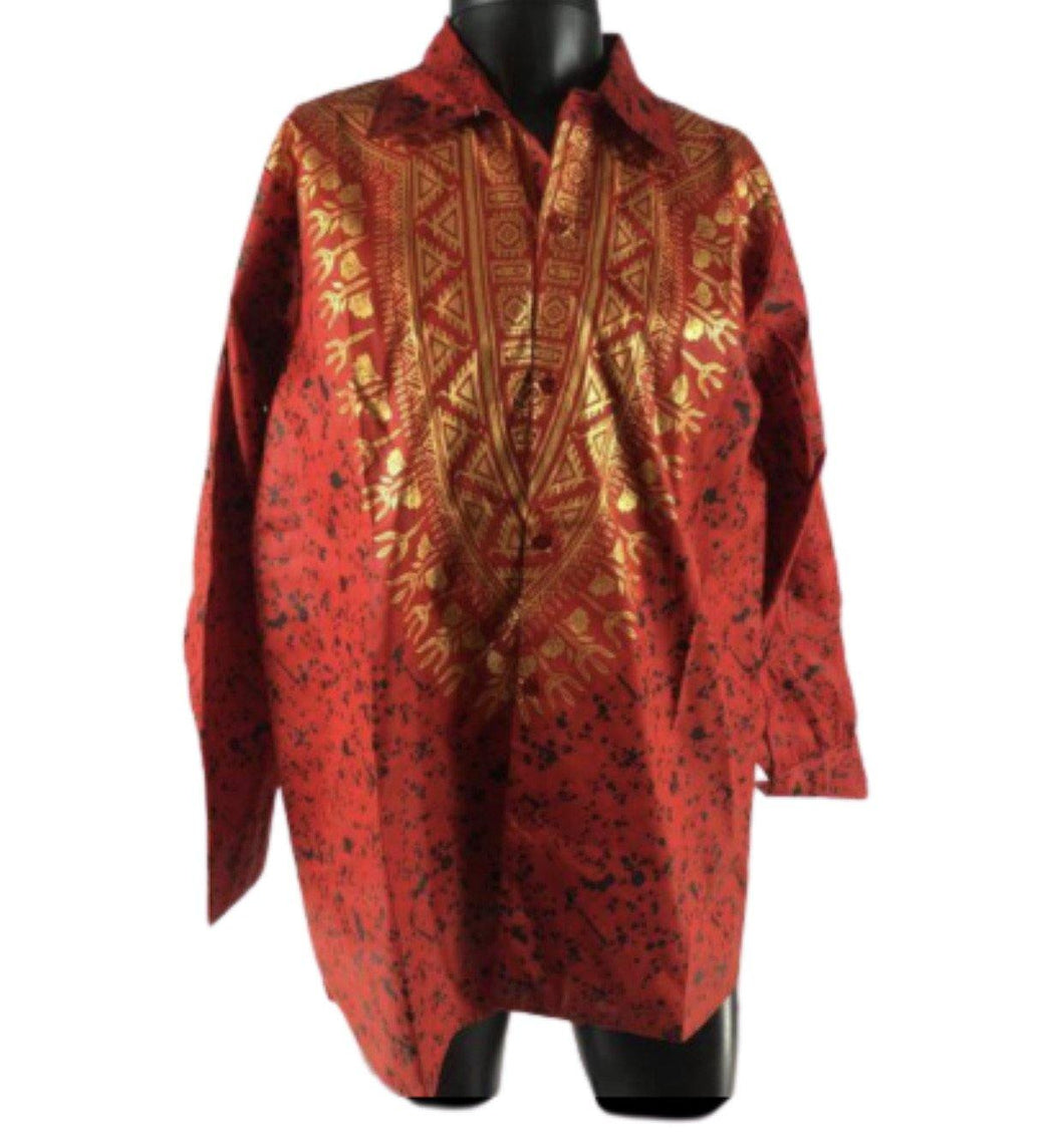 RED LONG-SLEEVE AFRICAN PRINT SHIRT