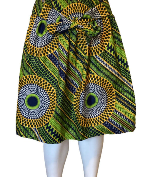 GREEN CIRCLES MIDI SKIRT - Belle De'esse Boutique