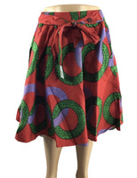 RED AND GREEN MIDI SKIRT - Belle De'esse Boutique
