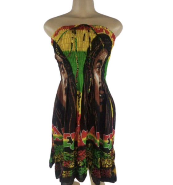 GREEN BOB MARLEY TUBE-TOP DRESS - Belle De'esse Boutique