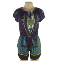 PURPLE DASHIKI PRINT ROMPER - Belle De'esse Boutique