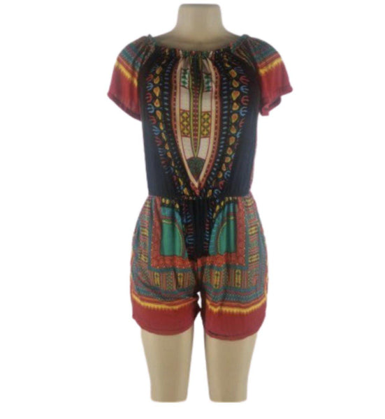 ORANGE DASHIKI PRINT ROMPER - Belle De'esse Boutique