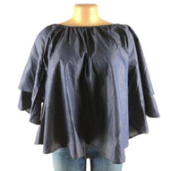 BLUE DENIM BELL-SLEEVE TOP - Belle De'esse Boutique