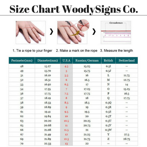 Size Chart WoodySigns Co.