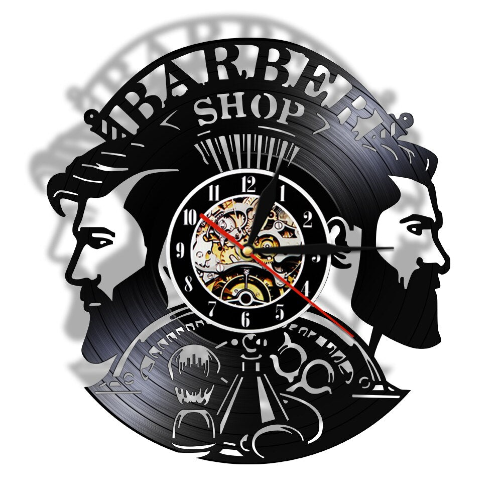 Barbershop Supplies Vinyl Clock Hairstylist Profession Wall Art Hairdresser Instruments Vinyl Record Wall Clock Man Salon Decor - Woody Signs Co.