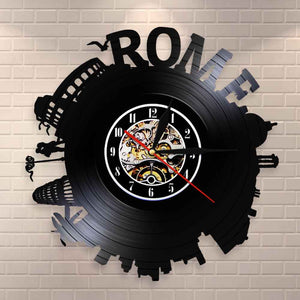 Rome City Skyline Colosseum  Wall Clock Italy Capital Skyround Rome Cityscape Vinyl Record Wall Clock Memorabilia - Woody Signs Co.