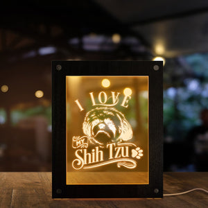 I Love My Shih Tzu Chinese Lion Dog LED Lighting Text Photo Frame Puppy Dog LED Night Lamp Wooden Laser Engraved Picture Frame - Woody Signs Co.