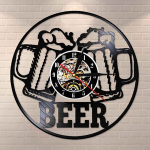 Beer Bar  Modern Clock Drinking Hour Pub Vinyl Record Wall Clock  Beer Club Decor - Woody Signs Co.