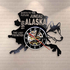 The Last Frontier Alaska Decor USA Cityscape Vinyl Record Clock North To The Future Juneau Modern Vintage Gift Alaska Dog Decor - Woody Signs Co.