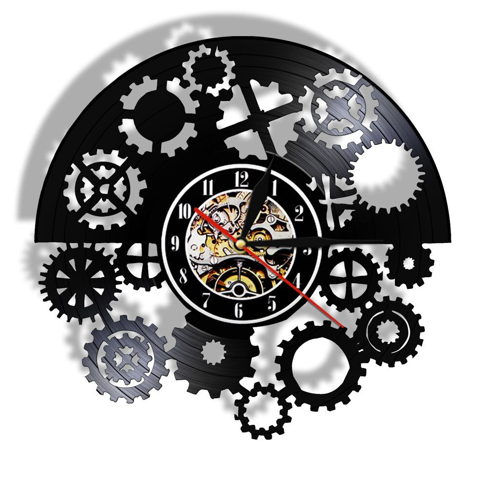 Gothic Steampunk Vinyl Record Wall Clock Gears Black Vinyl Record LP  Vintage  Tribal Machine Clock Timekeeper - Woody Signs Co.