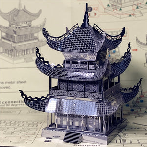3D metal puzzle Yueyang Tower Chinese architecture DIY Assemble Model Kits Laser Cut Jigsaw toy gift (Yueyang Tower) - Woody Signs Co.