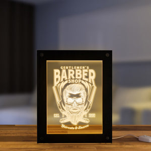 Gentlemen's Barber Shop Desktop LED Lighting Advertisement Board Custom Barber Logo Business Sign Haircuts & Shave Wooden Frame - Woody Signs Co.
