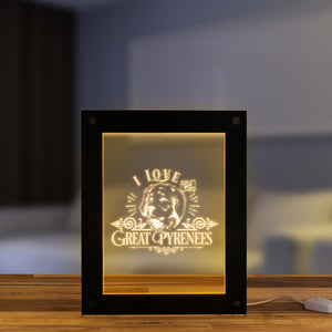 I Love My Great Pyrenees Wooden LED Night Light Display Custom Engraved Picture Frame Pyrenean Mountain Dog USB Table Lamp Frame - Woody Signs Co.