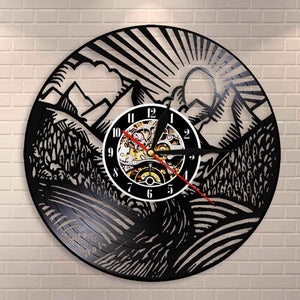 Mountain Landscape  Wall Clock Scenic Landscape Mountain Peak Gold Sun Vinyl Record Wall Clock Traveller Adventurer Gift - Woody Signs Co.
