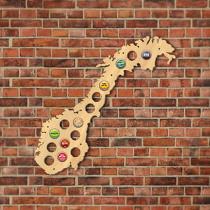 The Kingdom of Norway  Cap Map Wooden Wall Sign  Bottle Cap Display Holder   For Pub Bar - Woody Signs Co.