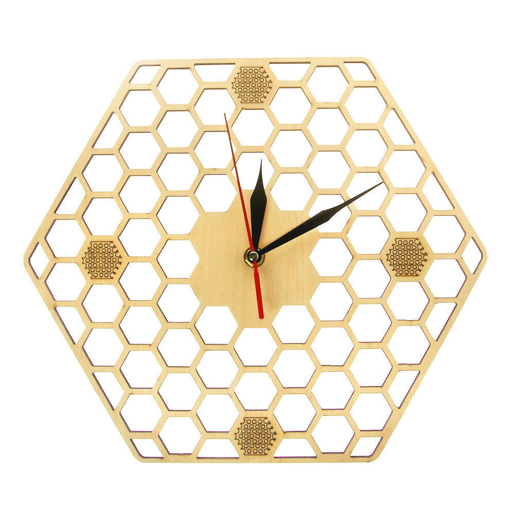 Minimal honeycomb Wood Wall Clock Hexagonal  Geometric Wall Clock Bee Lover  Contemporary Rustic Wood Clock Watch - Woody Signs Co.