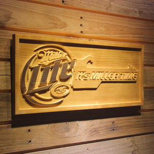 It's Miller Time Lite  Bar 3D Wooden Signs - Woody Signs Co.