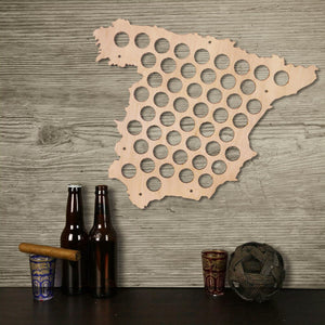 Creative Design  Bottle Cap Map Of Spain Wooden  Cap Map  Collection Hanging Display Map - Woody Signs Co.