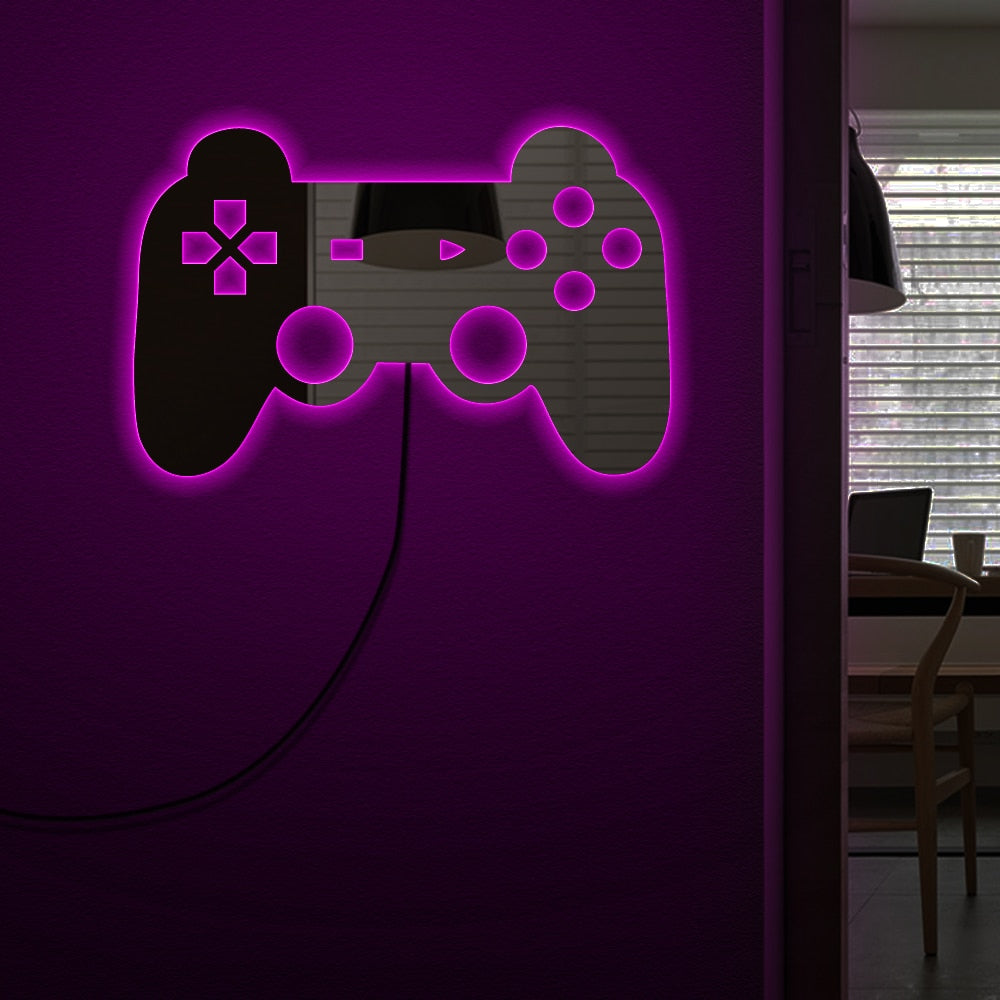 Gamepad Controler Wall Mirror With LED Backlight Joystick Games  Mirror Video Game Retro Arcade  Gamers - Woody Signs Co.